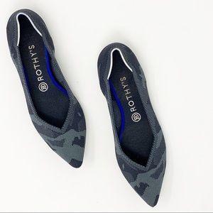 Rothys Point Toe Camo Flats Size 9.5
